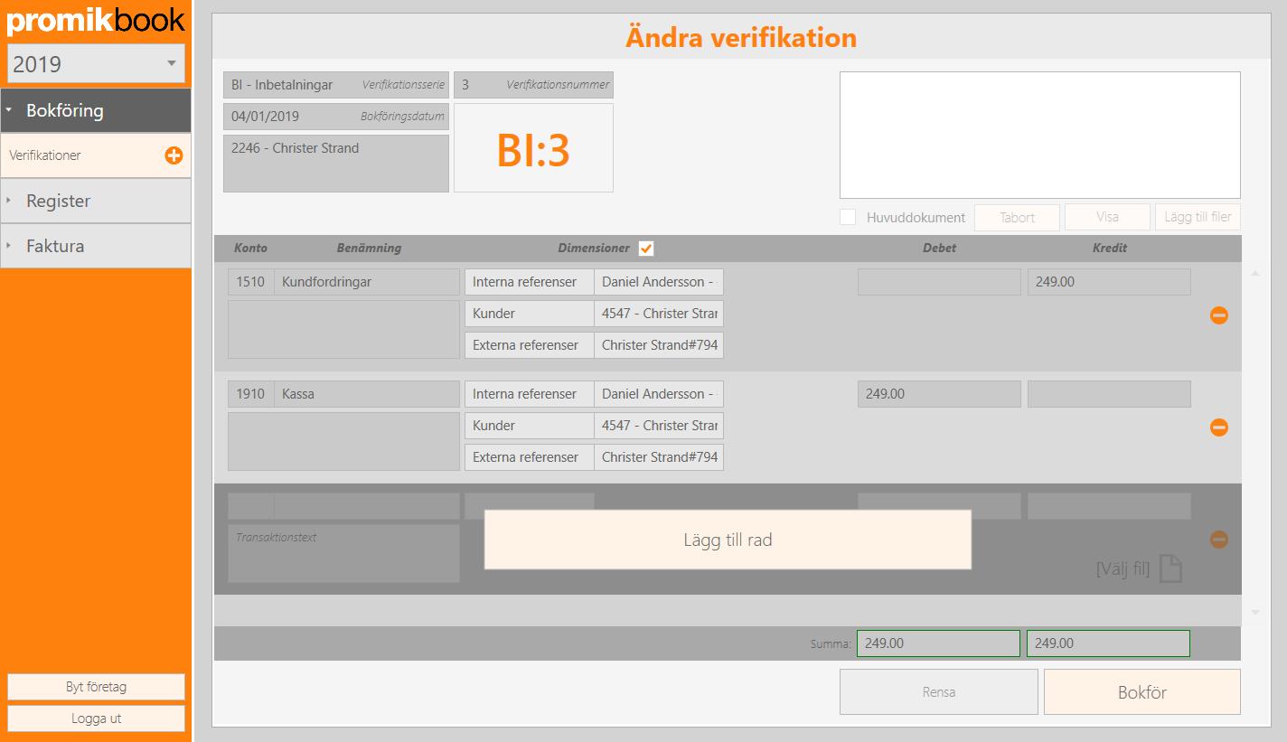 Ändra verifikation i vår windowsapplikation för bokföring